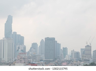 """BANGKOK, THAILAND - February 2, 2019 : View of heavily polluted city center in Bangkok, Air quality index levels were classed as """"Beyond Index"""" (PM 2.5)"""
