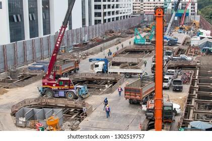 BANGKOK, THAILAND - February 2, 2019 : Crane and truck at construction site in Bangkok.