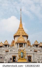 BANGKOK, THAILAND - February 2, 2019 : Trimitr temple, Phra Maha Mondop, Thailand.