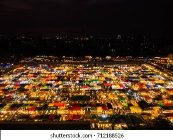 BANGKOK, THAILAND - FEBRUARY, 2017:Night view of the Train Night Market Ratchada. Train Night Market Ratchada, also known as Talad Nud Rod Fai, is a new flea market place at Bangkok.