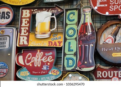 Bangkok, Thailand -  February 2018: Various type of vintage signage on sale at the Chatuchak weekend market,  Chatuchak is one of the famous tourist shopping area in Bangkok Thailand.