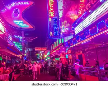 Bangkok, Thailand - February 21, 2017: Tourist visited Soi Cowboy, internationally known as a red light district at the heart of Bangkok's sex industry. Nightlife in Soi Cowboy, Bangkok, Thailand.