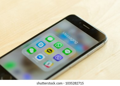Bangkok, Thailand - February 21, 2018: Messaging applications display on Apple's iPhone 6
