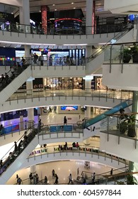 Bangkok Thailand - February 22 ,2017 :  People on escalators at the modern shopping mall