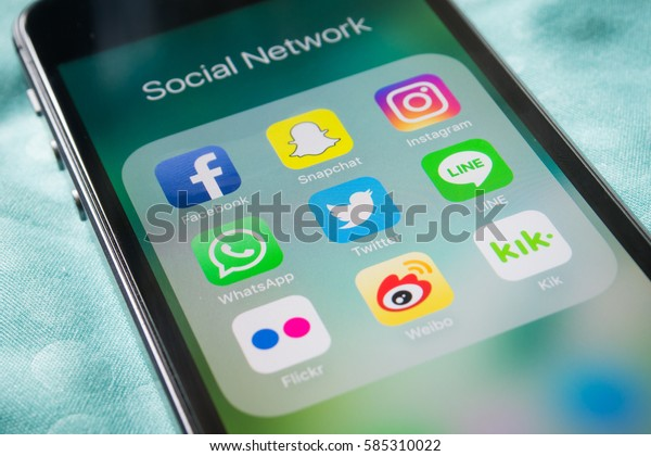 Bangkok, Thailand - February 22, 2017 : Apple iPhone5s showing its screen with popular social network applications.