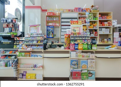 BANGKOK, THAILAND - FEBRUARY 22, 2019: Payment Point or Cashier at 7-Eleven shop, Bangkok, Thailand. 7-Eleven is an international chain of convenience stores.