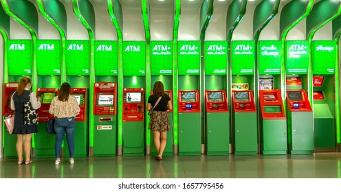 Bangkok, Thailand  February 22, 2020: People use ATM/CDM/PUM/DB Electronic machines kiosk of Kasikornbank (Kbank).