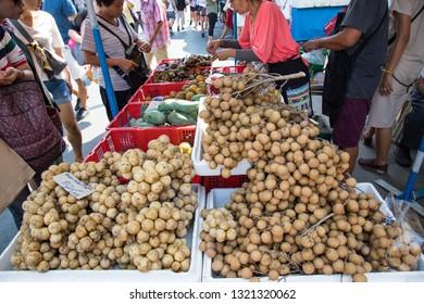BANGKOK, THAILAND - February 23, 2019 : Fruits Vendor Selling Variety Fruits at Chatuchak weekend market, Bangkok Thailand.