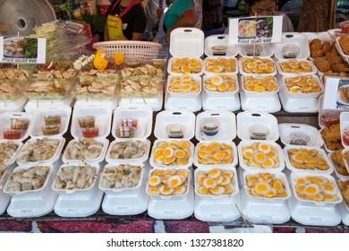 BANGKOK, THAILAND - February 23, 2019 : Food stall at Chatuchak weekend market Bangkok, Thailand street food.