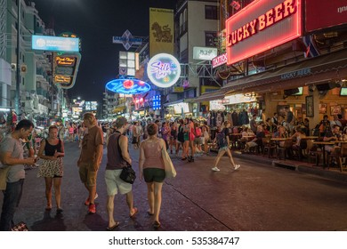 BANGKOK, THAILAND - FEBRUARY 23: Khao San Road by night on February 23, 2016 in Bangkok.  Khao San Road is a world famous backpacker street.