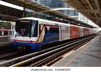 BANGKOK, THAILAND - February 24, 2019 : The Bangkok Mass Transit System, commonly known as the BTS Skytrain Station The BTS is in Bangkok. The Thai capital's public transport rail network has a daily