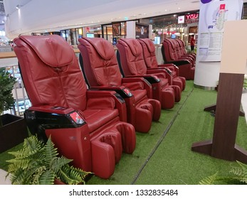 Bangkok, Thailand. February 24, 2019 - automatic massage chair for customers in shopping mall. healthcare concept.