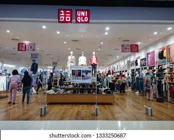 Bangkok, Thailand. February 24, 2019 - uniqlo woman fashion clothes retail shop entrance. uniqlo co.,ltd. is Japanese casual wear designer, manufacturer and retailer.