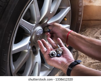 Bangkok, Thailand - February 24, 2019: Changing the tire wheels When there is a problem of cracking and leakage in order to prevent accidents on the road during driving