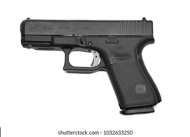 BANGKOK, THAILAND- FEBRUARY 24:Close-up on Glock 19 Gen 5 Gun on February 24,2018