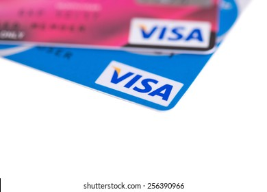 Bangkok, Thailand - February 26, 2015 : Close Up Logo on Credit Cards issued by the VISA