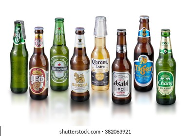 Bangkok, THAILAND -February 26, 2016: A variety of popular beer brands. Many brands including, Carlsberg beer, Leo beer, Heineken, Corona Extra Beer, Singha beer, Azahi beer, Tiger beer, Charng beer.