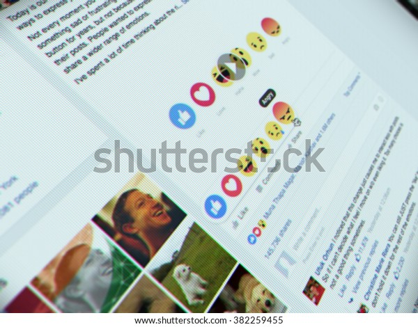 Bangkok, Thailand - FEBRUARY 26, 2016 - New Facebook like button options with 6 Empathetic Emoji. Facebook on website. Selective focus on Angry button.