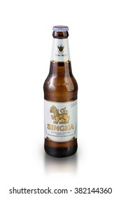 Bangkok, THAILAND -February 26, 2016:Singha beer on white background , Singha beer is most popular in thailand , Bangkok , Thailand