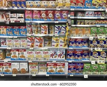 Bangkok Thailand - February 26,2017 :  cereal display on shelf in supermarket.