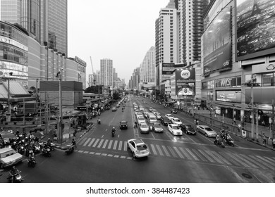 Bangkok, Thailand - February 29, 2016: Bangkok traffic in evening, Rush hour in Centre city.