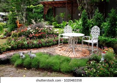 Bangkok, Thailand- February 3, 2018 : The beautiful garden art display at Park Nai Lert Heritage Home in Nailert Flower and garden Art Fair 2018.
