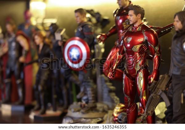 BANGKOK THAILAND - FEBRUARY 3 ,2020 :  Including MARVEL  Super Hero models ,superheros figure action in dezign66 studio at Bangkok ,Thailand