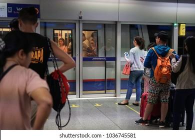Bangkok Thailand - February 4, 2018: The passengers waiting for MRT subway train arrived on platform in the rush hour, Transportation of the Bangkok Mass Rapid Transit, Selective focus