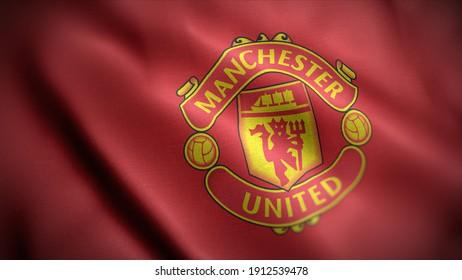 BANGKOK, THAILAND - February 6: The Logo of Manchester United Football Club on the Jersey on February 6,2021 in Bangkok Thailand.