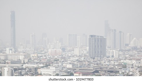 Bangkok , Thailand - February 7, 2018: Bangkok skyline with air pollution