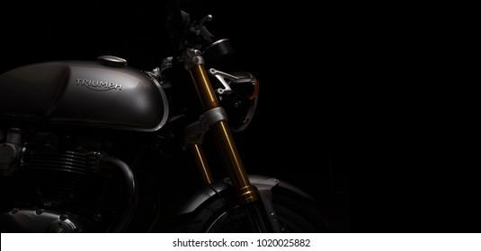 Bangkok, Thailand - February 7, 2018 : Lighting Cafe Racer motorcycle photos at night in Bangkok, Thailand. triumph motorcycle