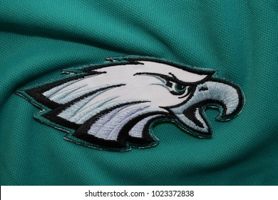 BANGKOK, THAILAND- FEBRUARY 7: Logo of NFL Superbowl 2018 Champion The Philadelphia Eagles on the Clothes on February 7,2018