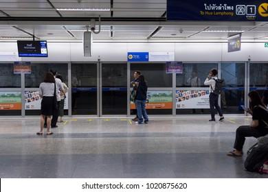 BANGKOK THAILAND - FEBRUARY 9, 2018: People are waiting for a subway ride. At MRT Silom Station, Transportation of the Bangkok Mass Rapid Transit