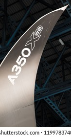 BANGKOK, THAILAND - FEBRUARY 9, 2018: Airbus A350-1000 demonstration tour in The Middle East & Asia-Pacific 2018 Suvarnabhumi Airport, Bangkok is one stop in this tour. Winglet of A350-1000.