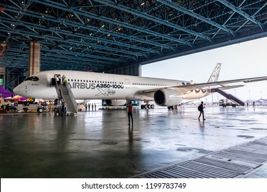 BANGKOK, THAILAND - FEBRUARY 9, 2018: Airbus A350-1000 demonstration tour in The Middle East & Asia-Pacific 2018 Suvarnabhumi Airport, Bangkok is one stop in this tour.