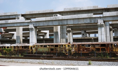 Bangkok, Thailand - February 9, 2019, Abandoned Henschel Locomotive in Bang Sue Depot with constructing of new Bang Sue Grand Central Station
