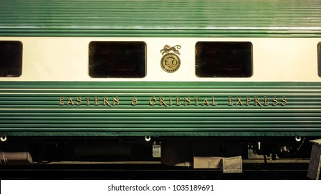 Bangkok, THAILAND - Febuary 13, 2018: The Eastern & Oriental Express  Luxury Trains,Bangkok to Singapore in Hua Lamphong railway station