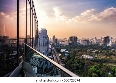 BANGKOK, THAILAND. - FEBUARY 14, 2016 : View from the Park Society Rooftop at Sofitel So Bangkok. Sofitel So Bangkok is an intrigue-steeped 5-star hotel.