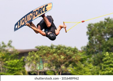 Bangkok, Thailand - Febuary 2, 2018 : Wakeboarding rider seasonal Plastic Playground 2018 World Series competition International Wakeboard Championship at Thai Wake Park Lumlukka district Thailand