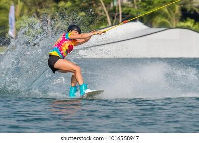 Bangkok, Thailand - Febuary 2, 2018 : Wakeboarding rider seasonal Plastic Playground 2018 World Series competition International Wakeboard Championship at Thai Wake Park Lumlukka district Thailand