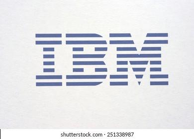 Bangkok, Thailand - Febuary 3, 2015 : Blue IBM logo on top of white laminated paper