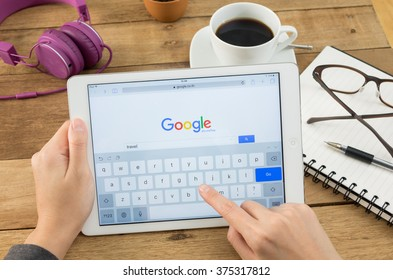 BANGKOK, THAILAND - FEBUARY 8, 2016: Google is an American multinational corporation specializing in Internet-related services and products. Most of its profits are derived from AdWords.