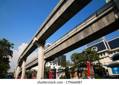 BANGKOK, THAILAND - FERBUARY 19, 2014: BTS Skytrain elevated rails at Ratchaprasong in Pathum Wan District. Elevated rails cover business, resident, and tourist areas by 32 stations.