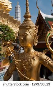Bangkok Thailand, golden kinnari at wat Phra Kaew