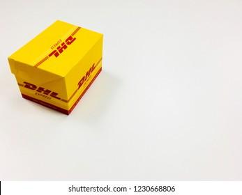 Bangkok Thailand at HP 3rd floor 2018 Nov 15: Mini DHL Box is on white table