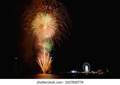 bangkok thailand jan 012013fireworks happy new year 2013 chao phraya