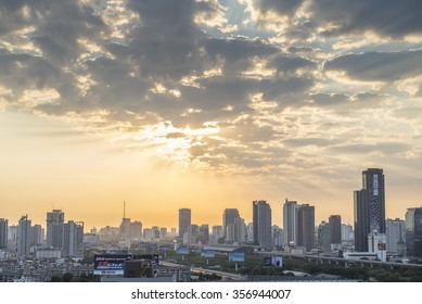 Bangkok, Thailand Jan 1 2016 : The first light of the year 2016 at the roof top of the building at Rachaprasong.