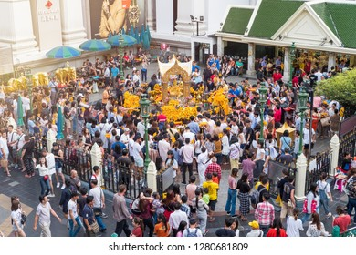 BANGKOK, THAILAND - JAN 1: Erawan Shrine on January 1, 2019. Tourists make a merit at Erawan Shrine on New Year day at Ratchaprasong Junction, Grand Hyatt Erawan Hotel. - Image