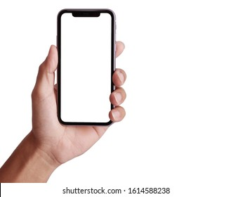 Bangkok, Thailand - JAN 10, 2019: Studio shot of Hand holding Smartphone iPhone 11 Pro Max and Show space white screen for mobile Phone your web site design, logo, app - include clipping path.