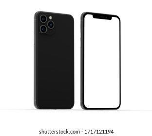 Bangkok, Thailand - Jan 10, 2020: Studio shot of Smartphone iPhone 11 Pro with blank white screen for Infographic Global Business web site design app, model iPhone 10 or iPhone xs Max.